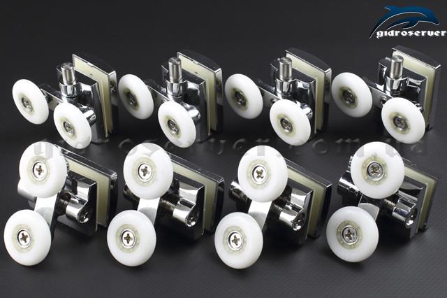 Комплект роликов для душевой кабины, гидромассажного бокса 8 штук, верхние M-07B и нижние M-07A с двумя колесиками.