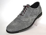 Великі розміри літні туфлі чоловічі в сіточку замшеві комфорт Rosso Avangard BS ANGrey сірі, фото 1