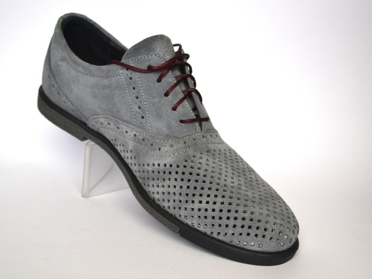 Большой размер. Летние туфли мужские в сеточку с кожаными вставками Rosso Avangard BS ANGrey серые