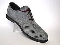 Большой размер. Летние туфли мужские в сеточку с кожаными вставками Rosso Avangard BS ANGrey серые, фото 1