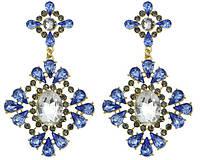 Серьги Очаровательный кристалл синие/бижутерия/цвет синий