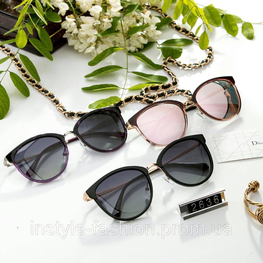 Женские очки брендовые Polaroid копия Диор реплика круглые