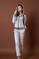 Стильный женский трикотажный костюм с кофтой и штанами
