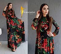 Женское платье в пол в цветочном принте i-t31032726