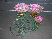 Оригинальная подставка под цветы кованый велосипед