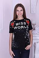 Женская футболка котон с надписью и цветами