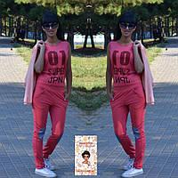 Женский спортивный костюм, штаны+футболка+кофта. Ткань: дайвинг + принты на ткани. Размеры: S,M,L.