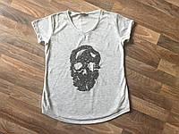 """Женская футболка с инкрустацией бисером """"Череп"""""""