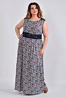 Прямое длинное платье больших размеров 0531 цветы