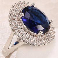Кольцо ограненный синий сапфир.Овал 14 х 12 мм-18.2 р-925-ИНДИЯ
