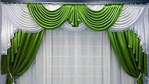 "Комплект ламбрикен+шторы+тюль ""Калипсо"" оливка, фото 3"