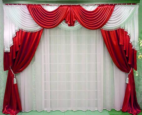 """Комплект ламбрикен+шторы+тюль """"Калипсо"""" красный, фото 2"""