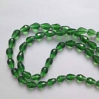 Бусина капля 1,2 см зеленая Стекло