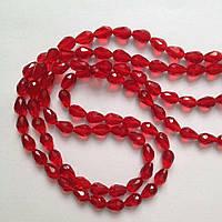 Бусина капля 1,2 см Красная Стекло