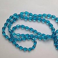 Бусина капля 1,2 см голубая Стекло