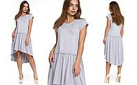 Молодежное серое платье из вискозы Лавания