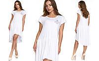 Молодежное белое платье из вискозы Лавания