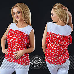Милая летняя блузка с воланом в мелкий цветочек, рукава-трансформеры