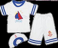 Костюмчик для мальчика: футболка с коротким рукавом, шортики и берет, хлопок (интерлок); ТМ Лули, р. 98, 104