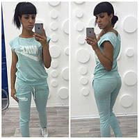 Женский спортивный костюм Nike штрих, штаны+футболка. Ткань: хлопок с накаткой. Размеры: S,M,L.