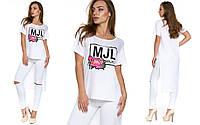 Модная белая футболка из вискозы Кортина