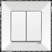 Выключатель 2-х клавишный VIKO Meridian Белый (90970102)