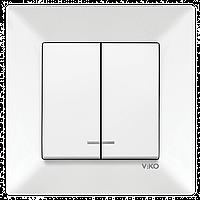 Выключатель 2-х клавишный с подсветкой VIKO Meridian Белый (90970150)