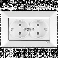Розетка двойная VIKO Meridian (с заземлением) Белая (90970156)