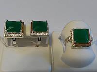 Комплект из серебра и золота с зеленым камнем Квадро