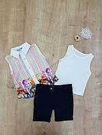 Нарядный костюм для девочки 3 в 1 блуза, майка и шорты