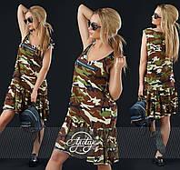Свободное спортивное платье в стиле милитари, принт камуфляж