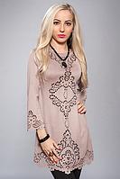 Очаровательное женственное облегающее платье-туника бежевый, 44-46