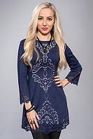 Очаровательное женственное облегающее платье-туника темно-синий, 44-46
