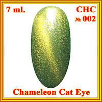 DIS УФ Гель-лак Chameleon Cat Eye 7,5 мл. тон CHC - 002 Зеленый