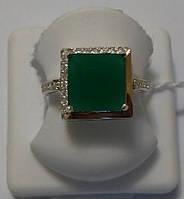 Серебряное кольцо с золотом и зеленым камнем Квадро