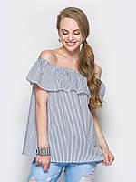 Модная летняя блуза из легкого хлопка в мелкую полоску р.44-46, р.48-50