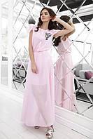Женское шифоновое платье розовое