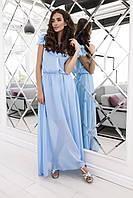 Женское шифоновое платье голубое