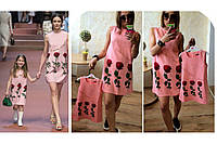 Красивое платье сарафан для девочки с рисунком розочек, копия D&G