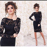 Стильное короткое гипюровое платье с длинными рукавами