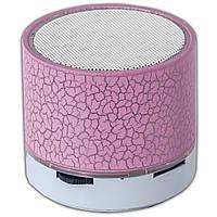Портативная колонка Lesko BL S60U розовая Bluetooth мощный LED подсветкой USB microSD картой памяти компактная