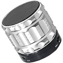 Портативная колонка Lesko BL S28 серебристая MP3 смартфона планшета телефон Bluetooth музыка металлическая, фото 2