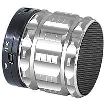 Портативная колонка Lesko BL S28 серебристая MP3 смартфона планшета телефон Bluetooth музыка металлическая, фото 3