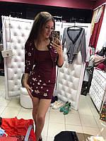 """Женский красивый костюм: платье и пиджак с перфорацией """"Звезды"""" (3 цвета) бордо, S"""