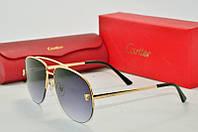 Солнцезащитные очки Cartier черные в золоте