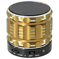 Мощный bluetooth динамик Lesko BL S28 золотистый беспроводной с микрофоном mp3 карта памяти USB для музыки