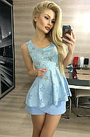 Женский костюм  Шорты юбка голубой