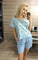 Женский костюм  Шорты голубые