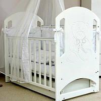 Кроватка детская Верес Соня ЛД8 белый резьба мишка со стразами