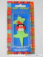 "Свеча на торт детская ""Angry Birds"" цифра ""1"" салатовая"